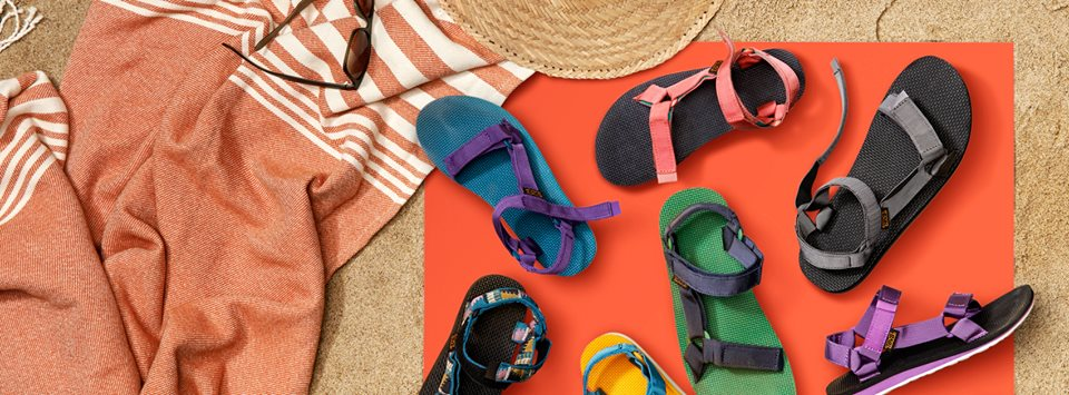 Teva sandals on the beach