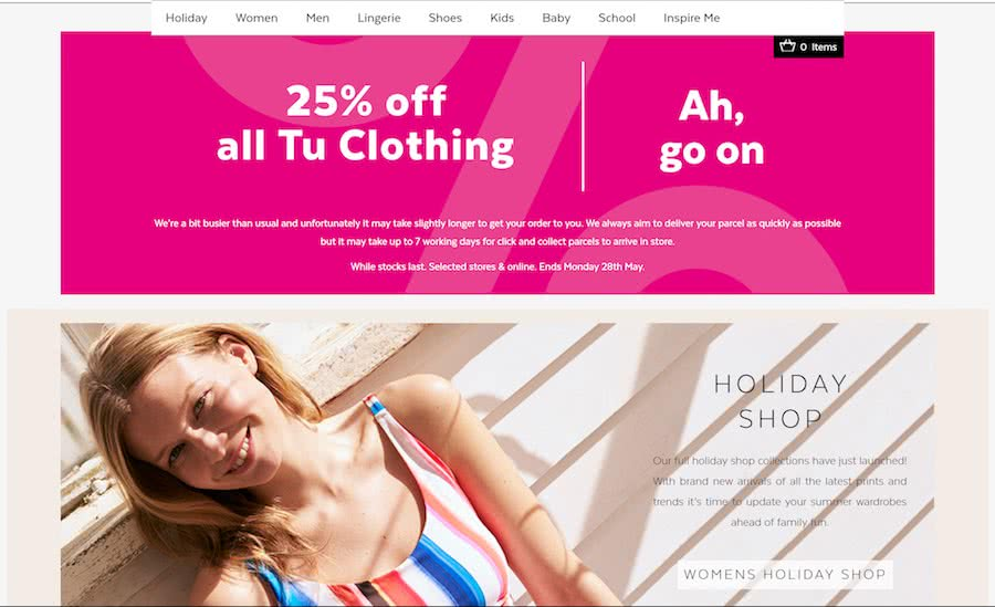 Tu Clothing Homepage Offers