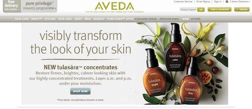 Aveda Website