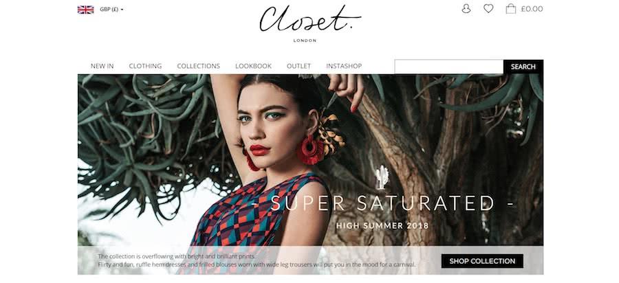 Closet London Homepage