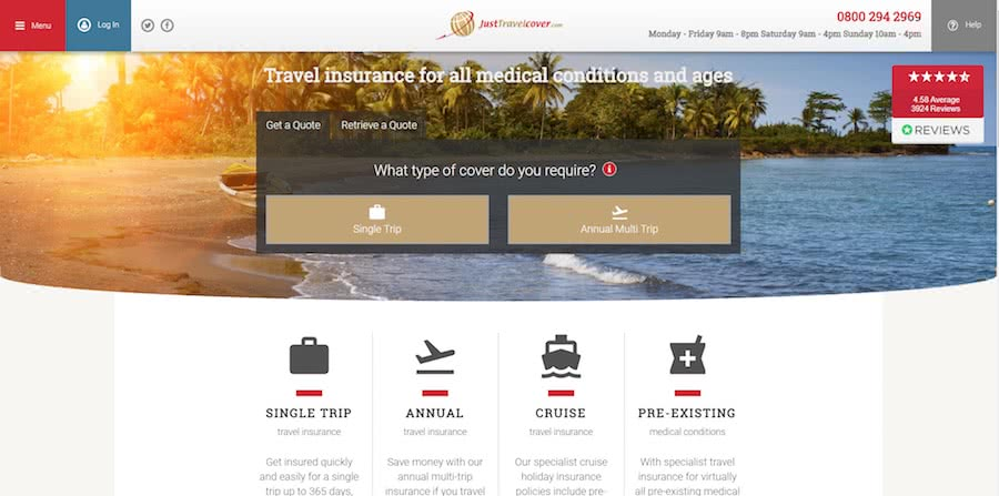 Just Travel Cover Homepage