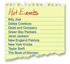 TicketNetwork Hot Events