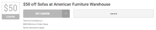 American Furniture Warehouse Offer Terms