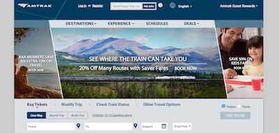 Amtrak Website