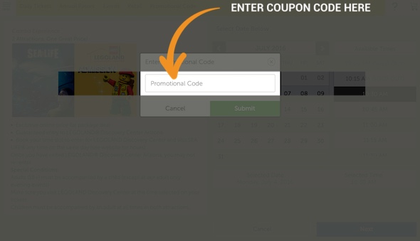 LEGOLAND Discovery Center Coupon Redemption