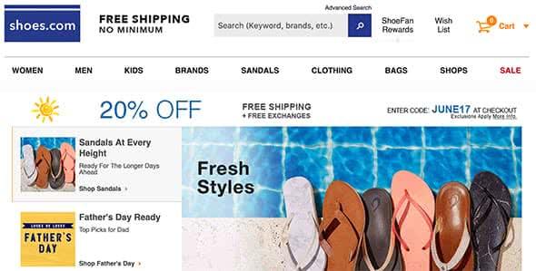 Shoes.com Website
