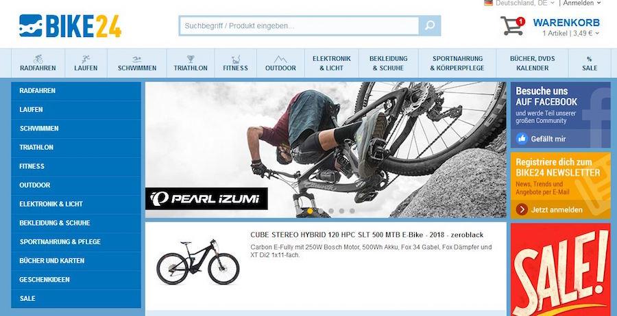 Bike24 Kategorien