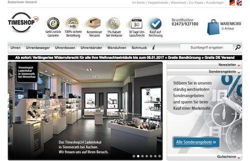 Timeshop24 Webseite
