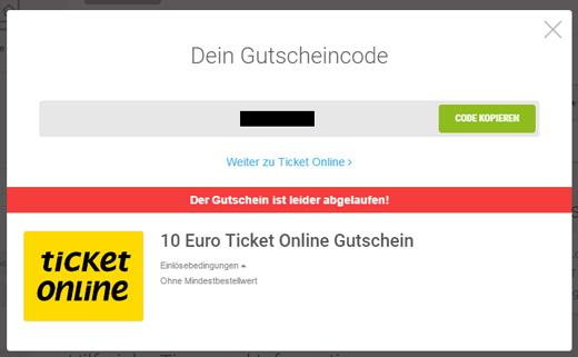 Ticket Online Einlösebedingungen