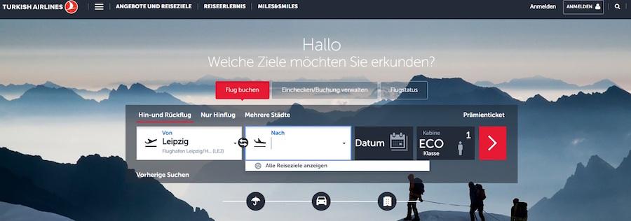 Turkish Airlines Homepage Angebote