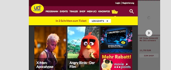 UCI Kinowelt Webseite