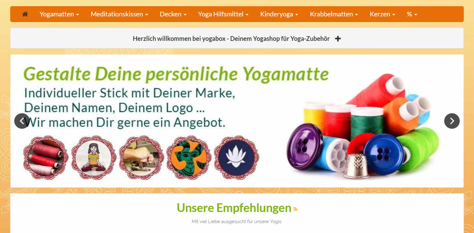 Yogabox Homepage Kategorien