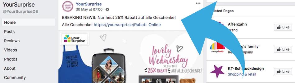 25% YourSurprise Gutschein auf Facebook