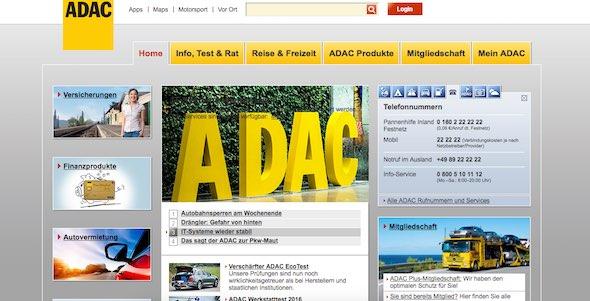 ADAC Webseite