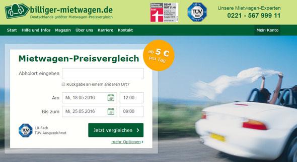 Billiger Mietwagen Screenshot