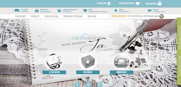 Carino Karten Webseite