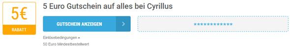 Cyrillus Einlösebedingungen