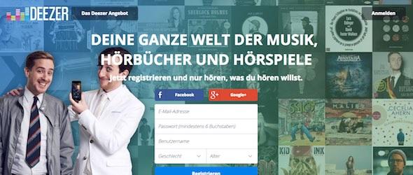 Deezer Webseite