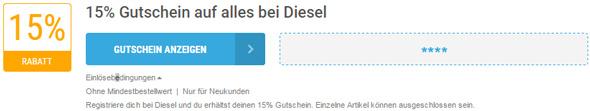 Diesel Einlösebedingungen