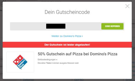 Domino's Pizza Einlösebedingungen