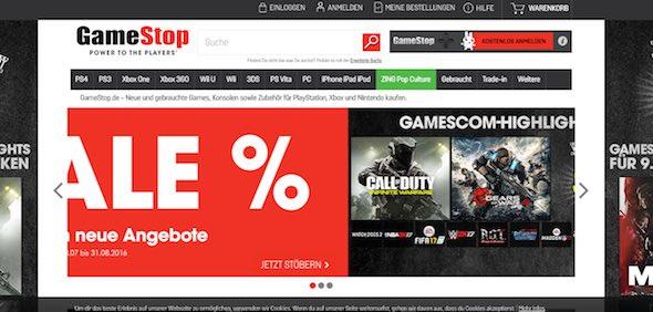 Gamestop Webseite