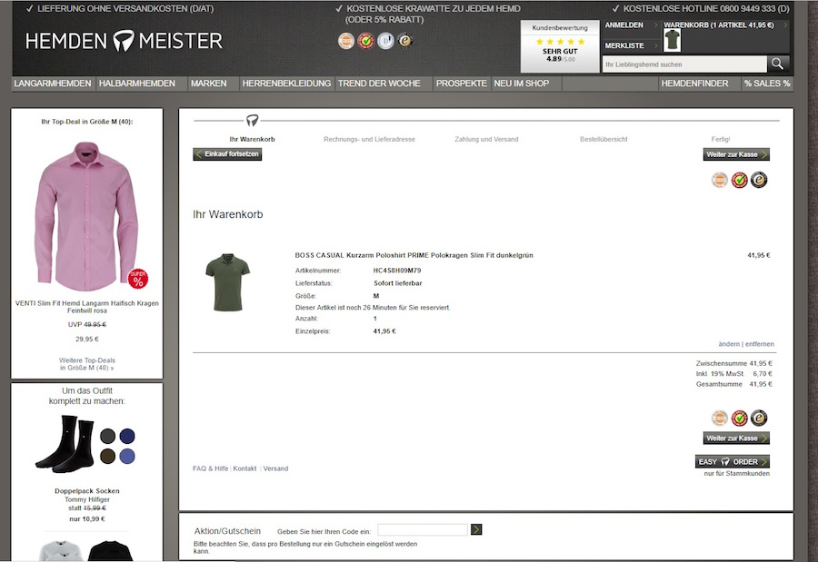 Hemden Meister Gutscheine