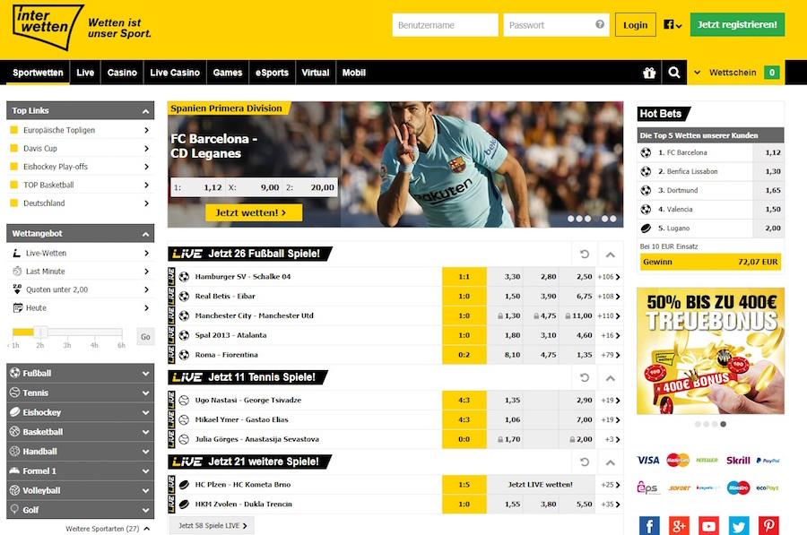 Interwetten Homepage Angebote