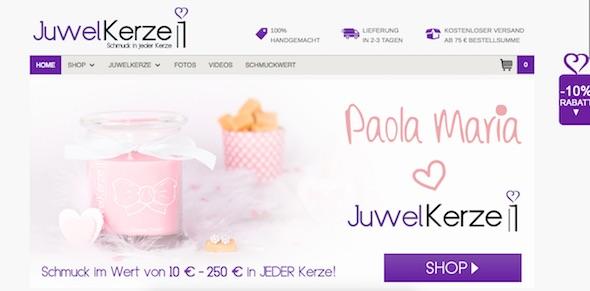 Juwelkerze Webseite