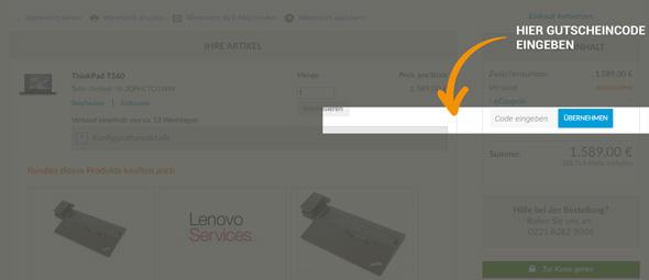 Lenovo Gutschein einlösen