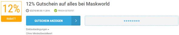 Maskworld Einlösebedingungen