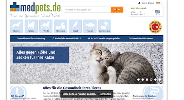 Medpets Webseite