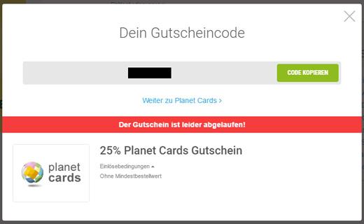 Planet Cards Einlösebedingungen