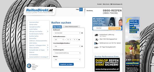 Reifendirekt Österreich Screenshot