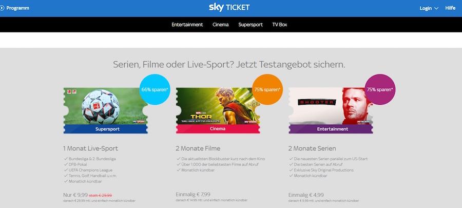 Sky Ticket Angebote