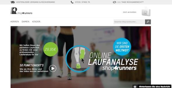shop4runners Webseite