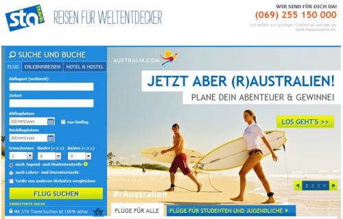 STA Travel Screen