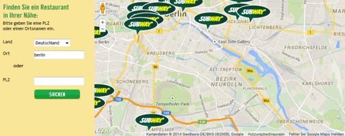 Subway Restaurantfinder