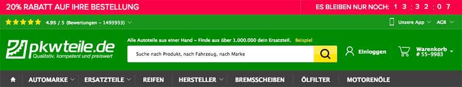 pkwteile Gutschein 20% Rabatt