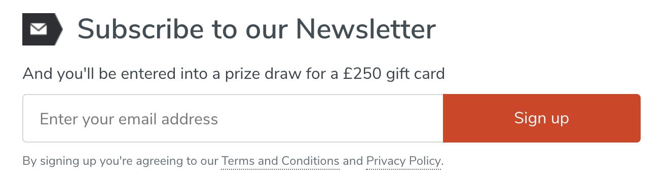 Dunelm newsletter subscription offer